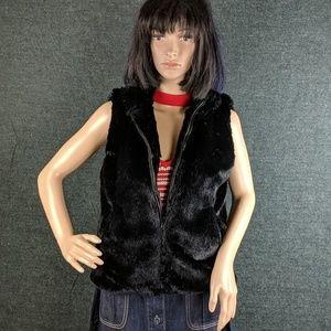 Mixit Brand Faux Fur Black Vest